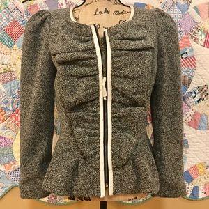 Anthropologie ruffly zipper up blazer coat SZ 8